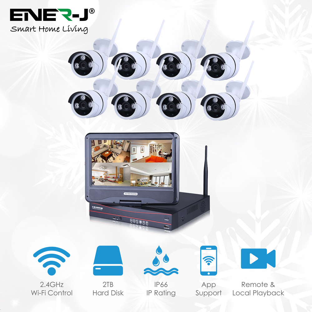 Outdoor Wireless IP Camera System WIFI NVR + 2TB HDD