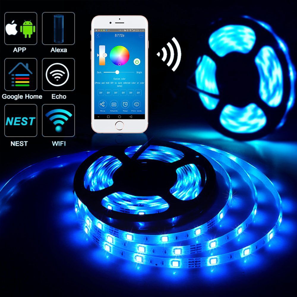 Wifi RGB LED Strip Kit with 5 meter Strip, Wifi Receiver and Plug & Play Power Supply