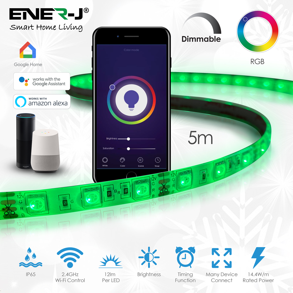 5m RGB Strips, 300 LEDs with Wifi + IR Controller (2 in 1) & 6A Adapter