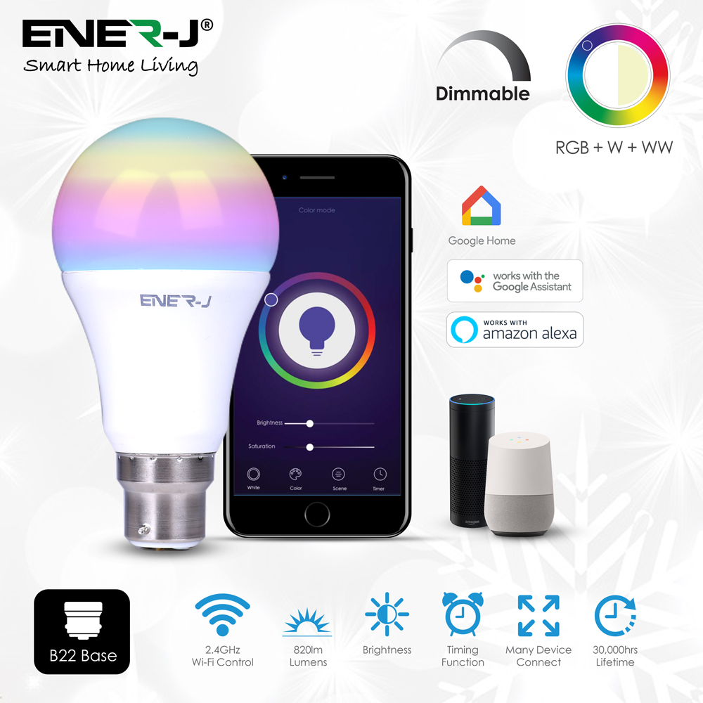 Wi-Fi Smart A60 9W RGB+W+WW Bulb with B22 Holder