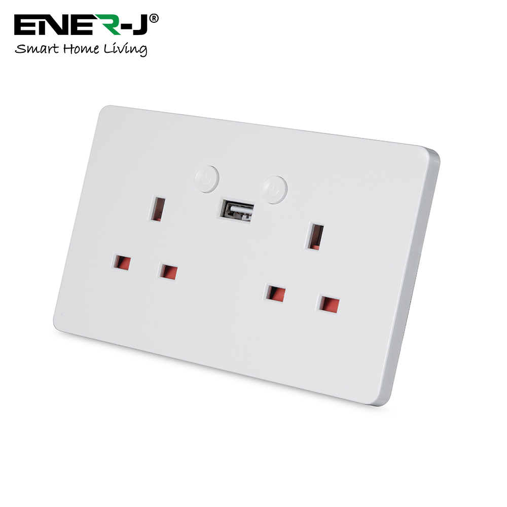 13A Twin Wall Sockets with single USB & push switch