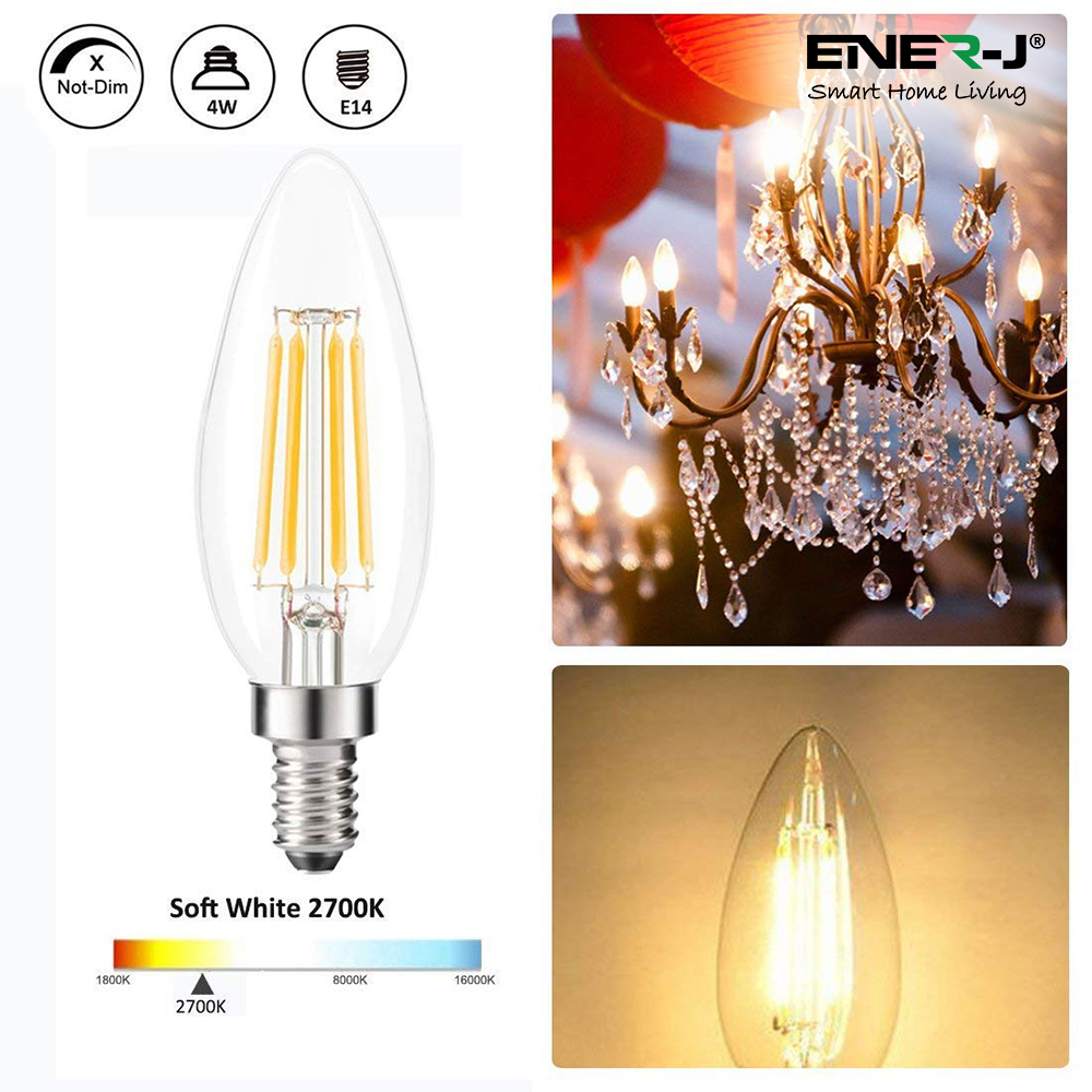 LED Candle Light Bulbs 4W E14 Base, Warm White 2700K (Pack of 10pcs)
